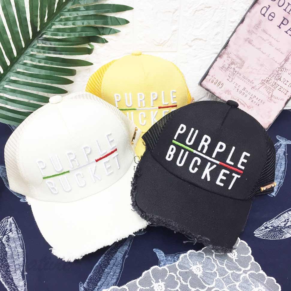 兒童帽 PURPLE 英文字 立體刺繡 帽沿抽鬚 鬚邊 側面金屬扣 水鑽 透氣式 帽子 網帽