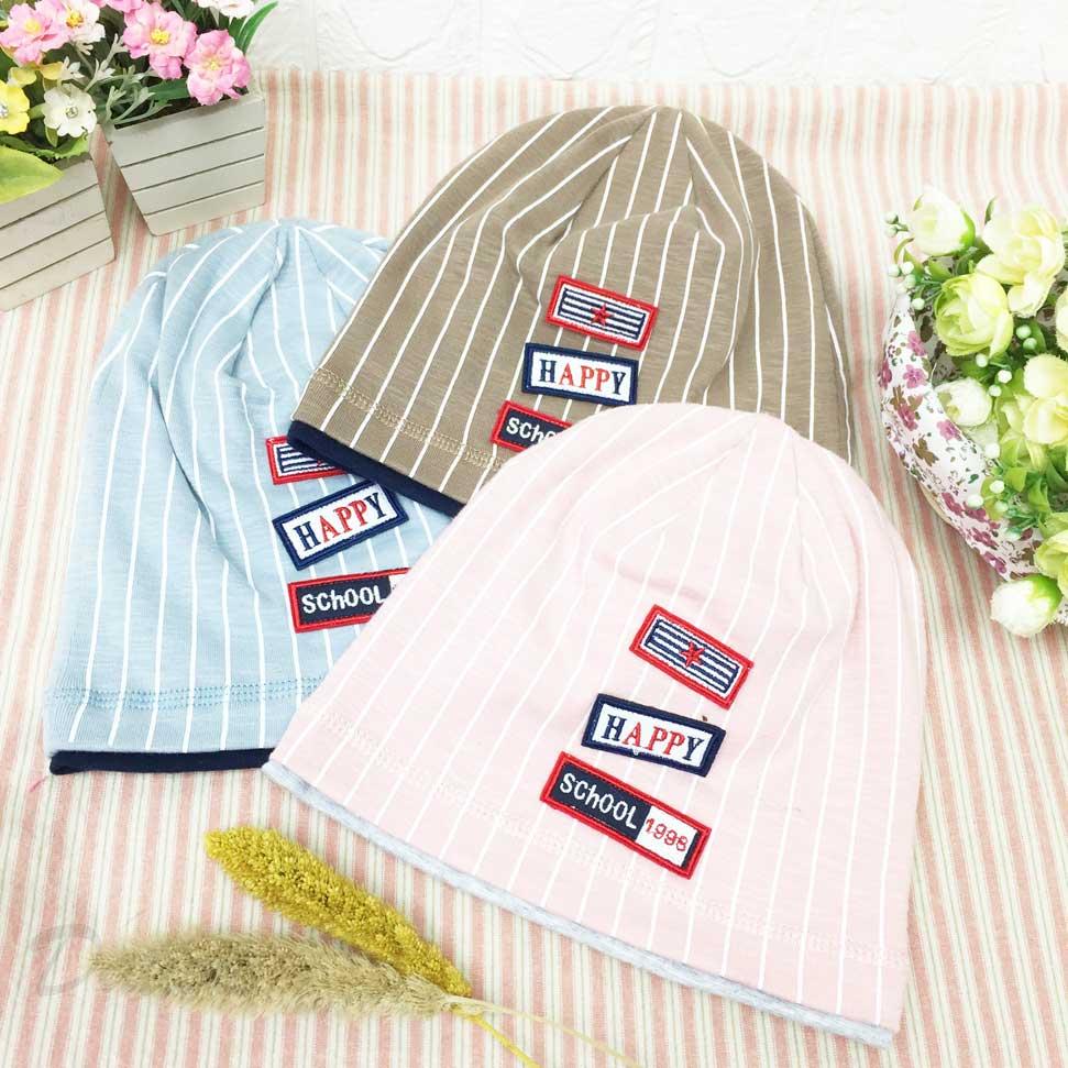 嬰兒帽 白條紋 標誌 Happy School 1998英文 數字 帽子 毛帽