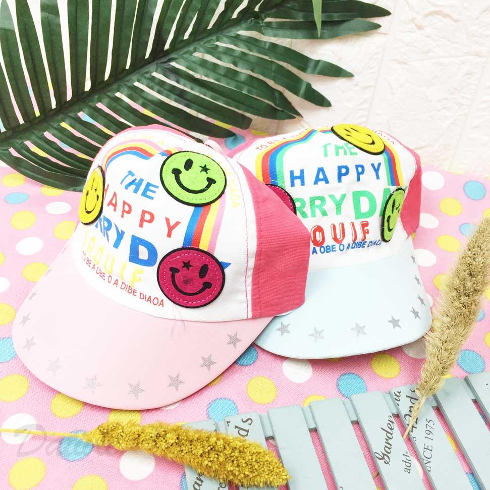 笑臉圖 Happy 英文字樣 星星邊 彩虹 配色 後鬆緊 帽子 棒球帽