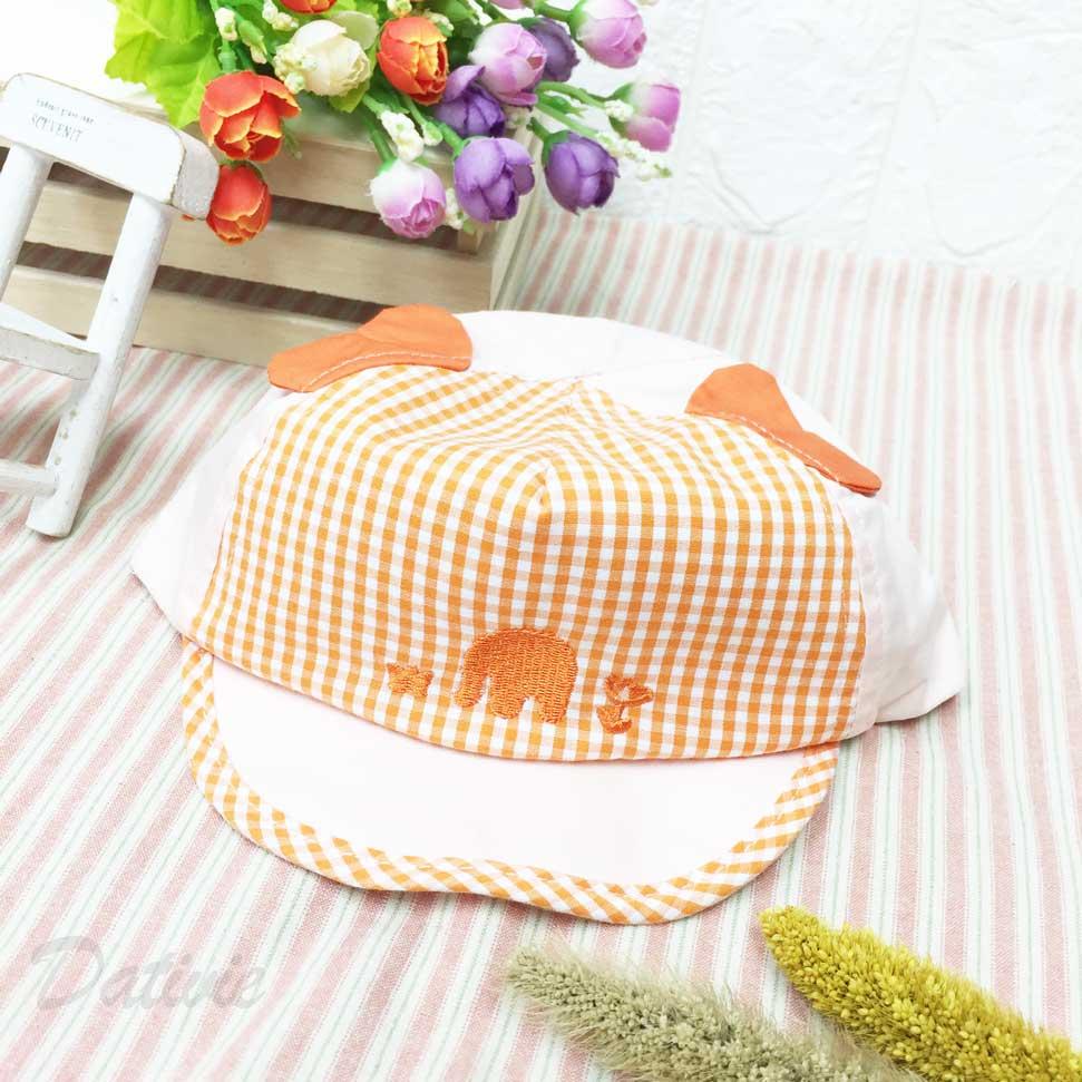 兒童帽 橘色 方格 格紋 大象 花朵 立體大象耳朵 帽沿包邊格紋 後魔鬼氈 帽子 鴨舌帽