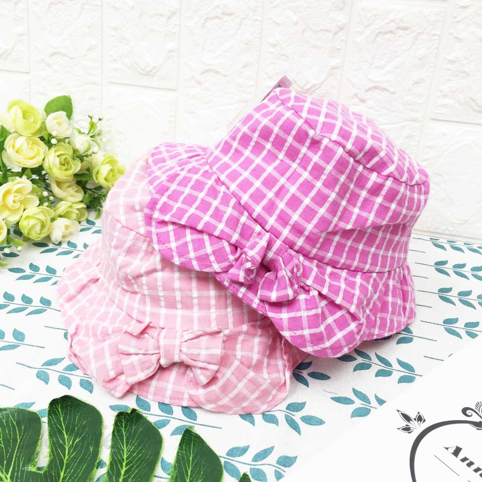 兒童帽 粉色系 格紋 蝴蝶結 側邊小蝴蝶 英文字 刺繡 有拉繩 帽子