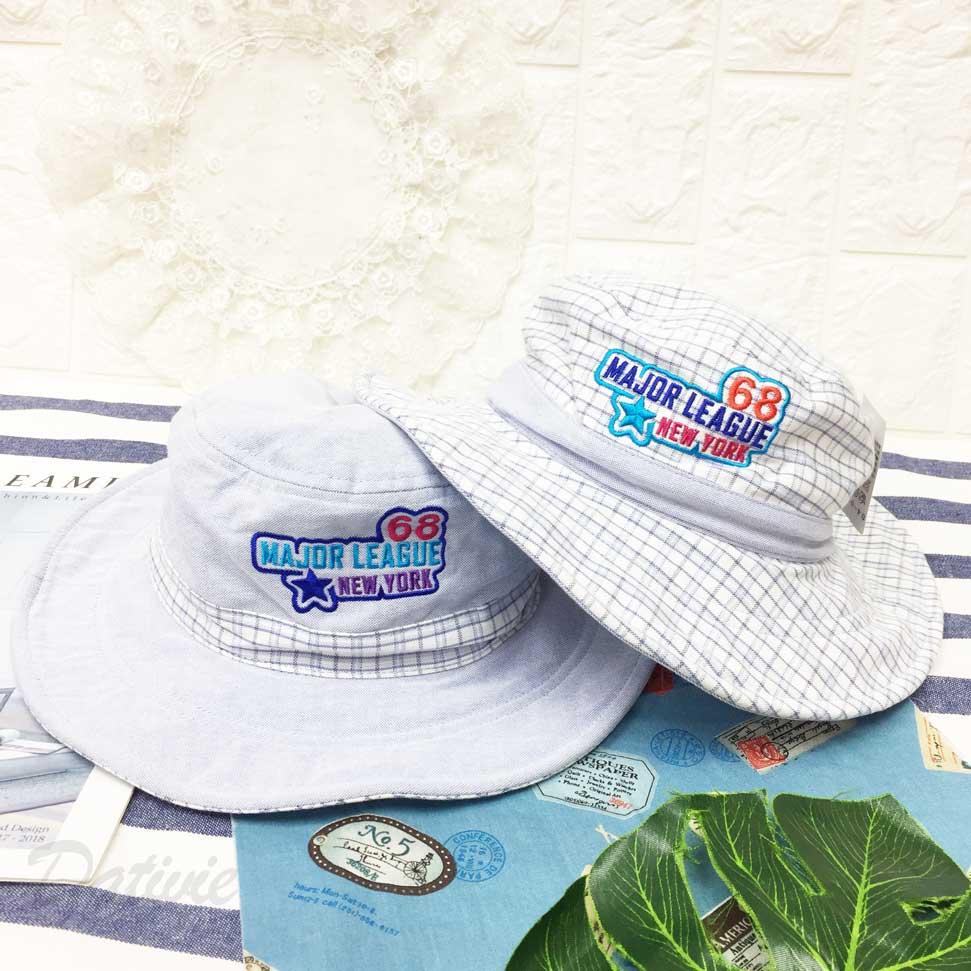 兒童帽 數字 68 英文字 星星 邊框 格紋 刺繡 帽沿鐵邊可彎曲造型 有拉繩 帽子