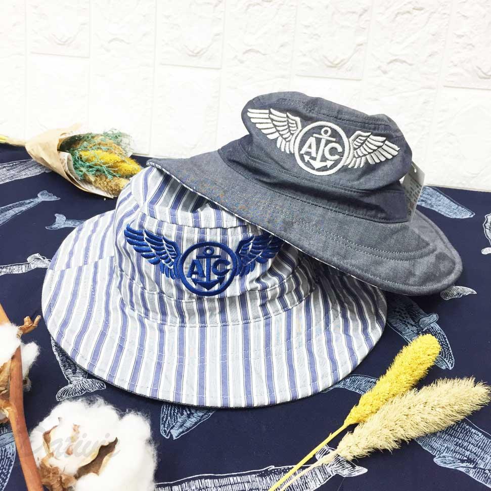 兒童帽 AC 英文字 海錨 翅膀 條紋 素色 兩款 有拉繩 帽子