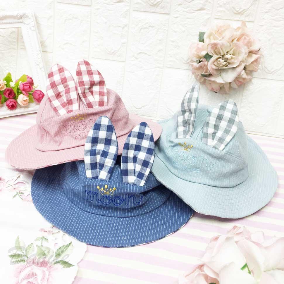 兒童帽 兔子造型 立體耳朵 皇冠 條紋 格紋 後英文標籤 有拉繩 帽子