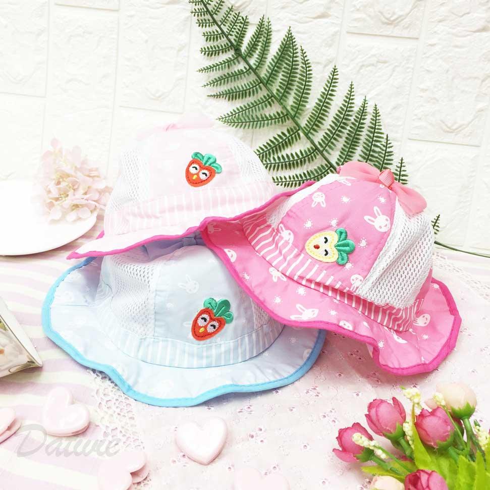兒童帽 可愛兔寶寶 笑臉蘿蔔 透氣洞洞 立體蝴蝶結 兔耳朵 帽沿波浪造型 有拉繩 帽子