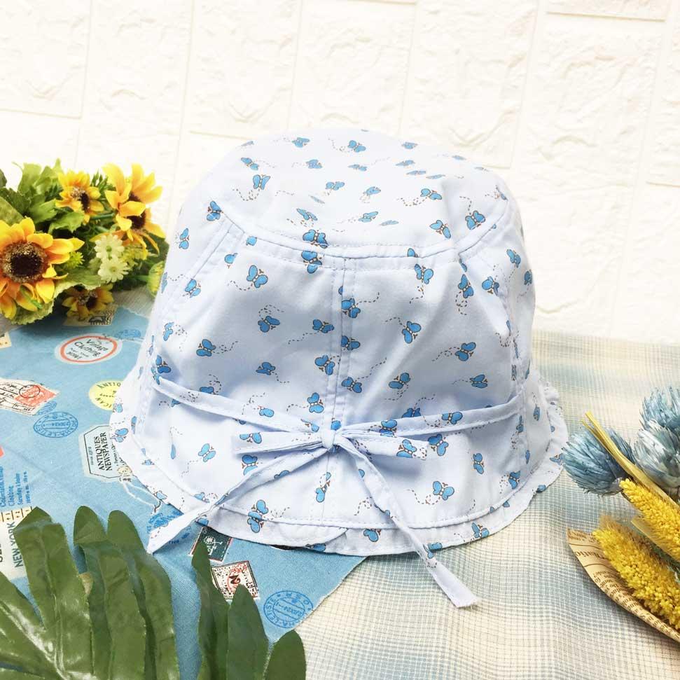 兒童帽 水藍色 滿版小蝴蝶 蝴蝶結綁帶 帽沿小荷葉 有拉繩 帽子