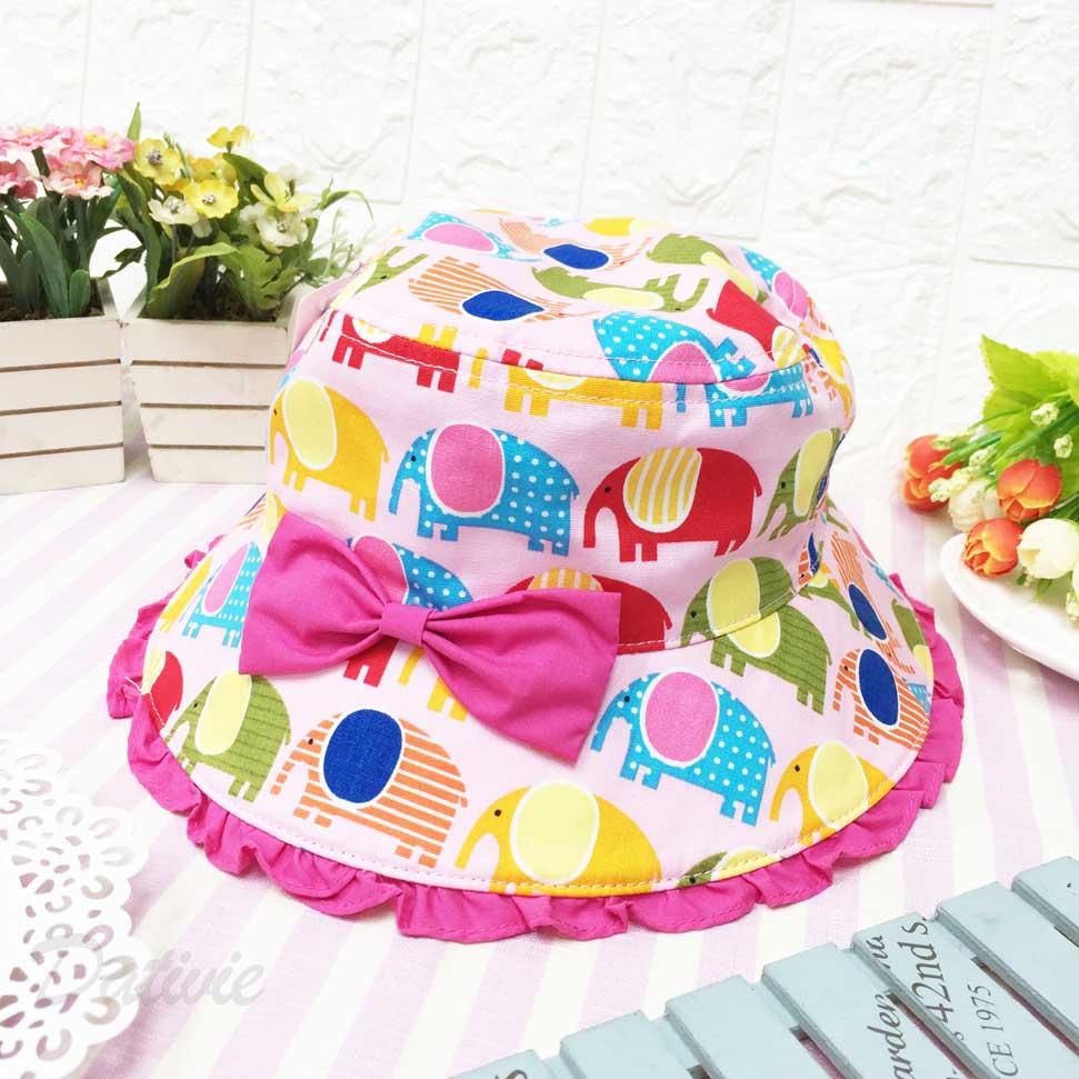 兒童帽 滿版 繽紛 大象 蝴蝶結 帽沿小荷葉邊 有拉繩 帽子