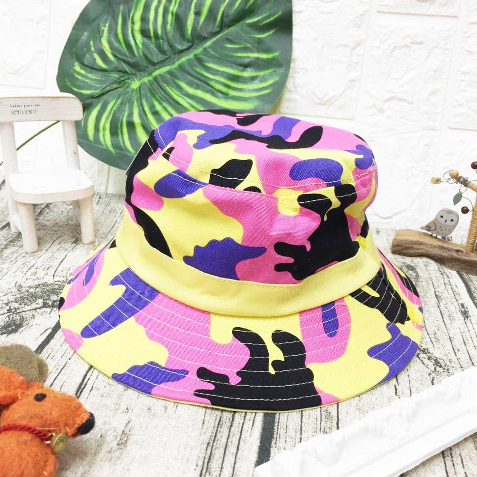 兒童帽 迷彩 亮色系 有拉繩可調鬆緊 扣子可做造型 帽子 漁夫帽