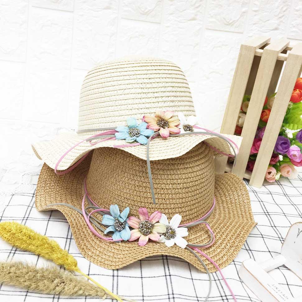 兒童帽 三朵花 不同色 編織 帽沿波浪造型 有拉繩 帽子 草帽