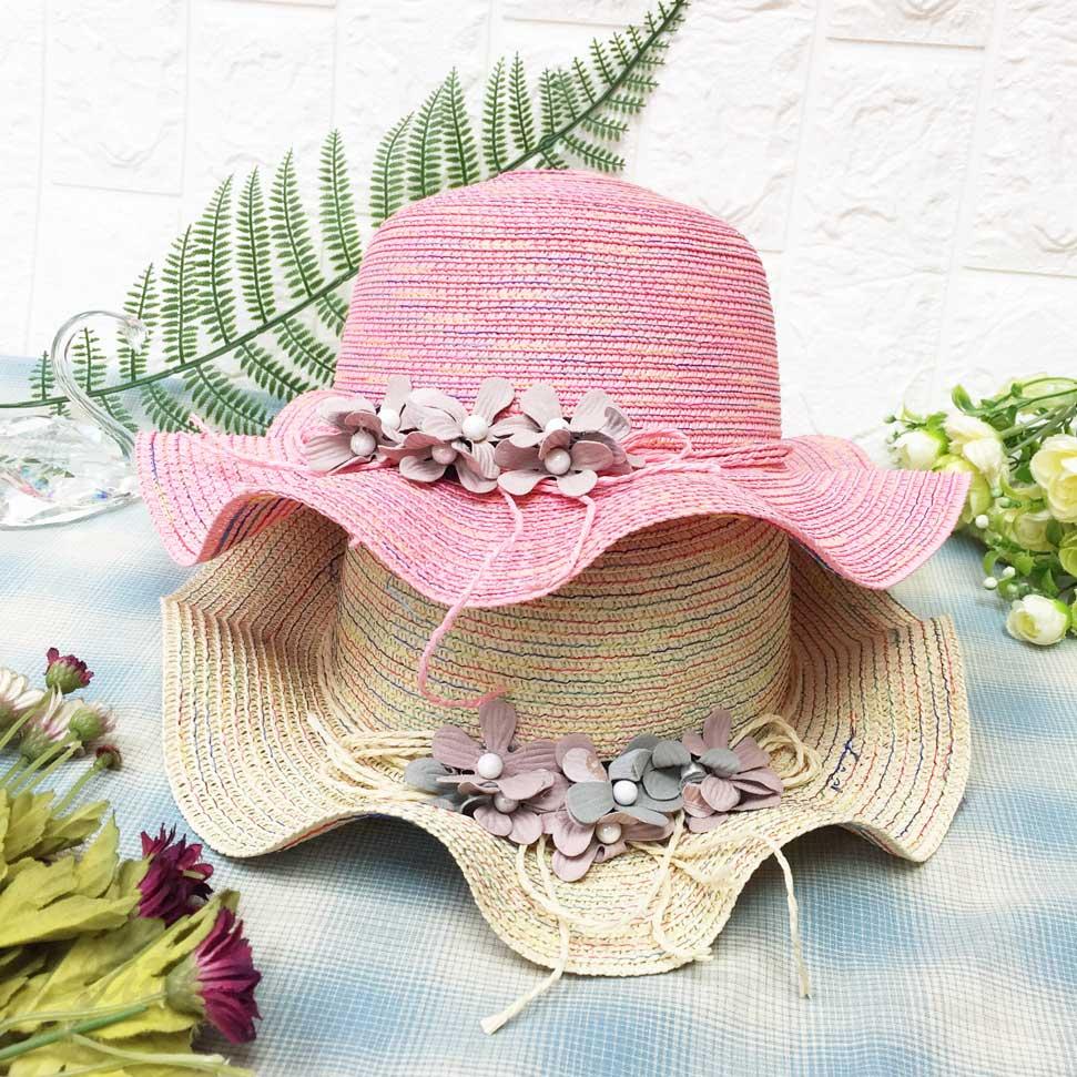 兒童帽 編織款 彩色線 花朵 同色編織線綁帶 帽沿波浪 有拉繩 帽子 草帽