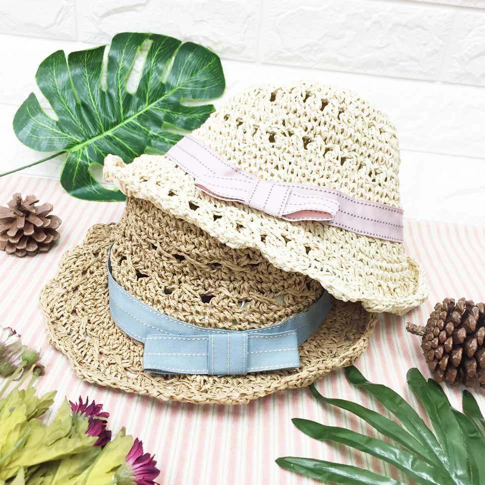兒童帽 粗編織款 綁帶緞帶 帽沿鐵邊可彎曲造型 頭圍可調 帽子 草帽