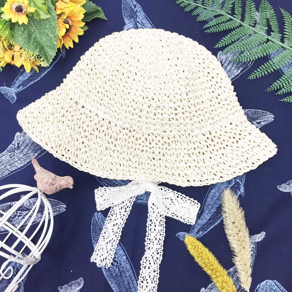 兒童帽 柔軟粗編織 蕾絲可綁蝴蝶結做造型 頭圍可調鬆緊 帽子 草帽