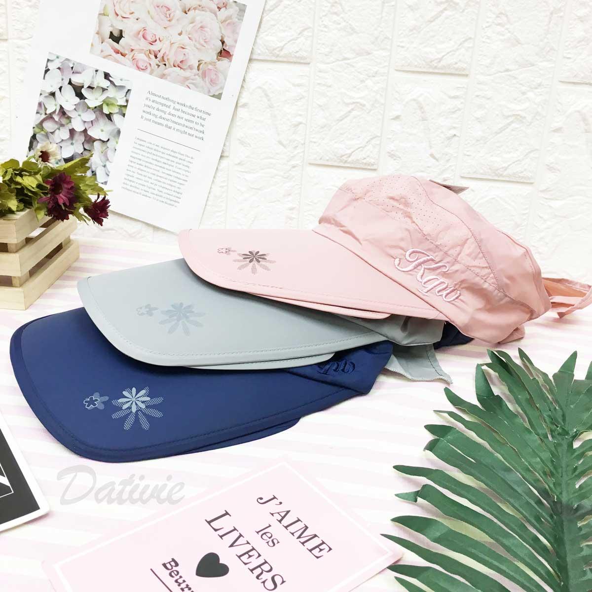 遮陽帽 小花 透氣孔洞 英文字 帽沿包邊 後面綁帶可調鬆緊 帽子 空頂帽