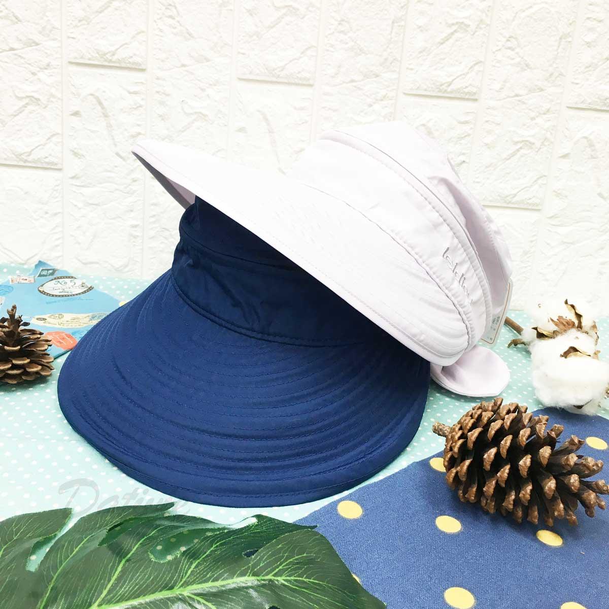 遮陽帽 英文字 拉鍊設計可拆 蝴蝶結造型 後面魔鬼氈可調鬆緊 帽子 空頂帽
