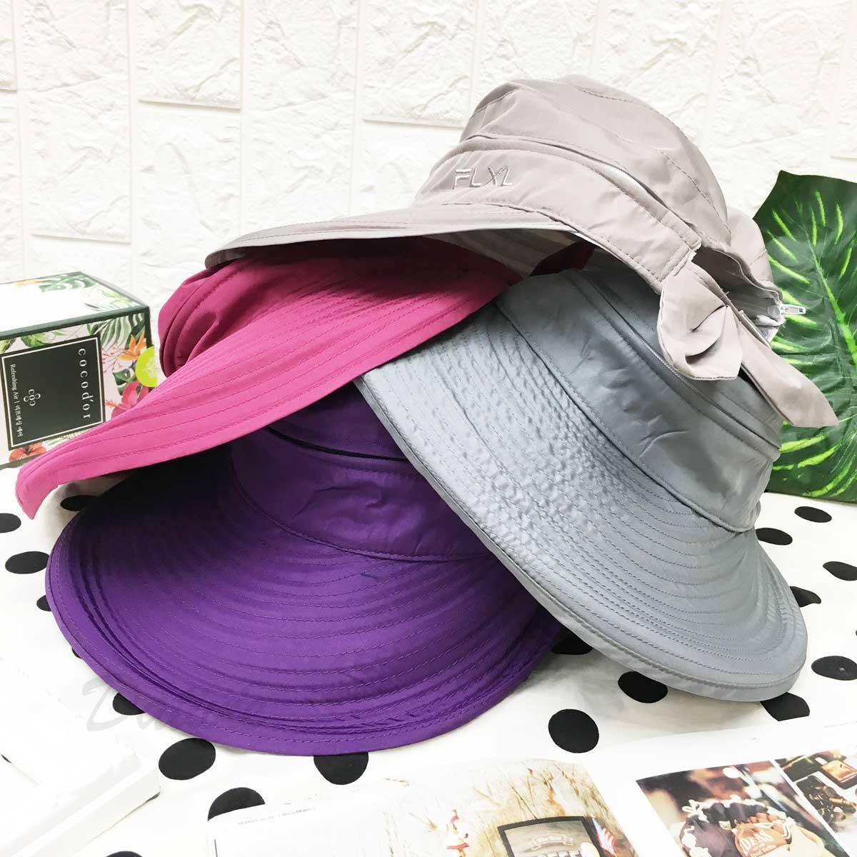 遮陽帽 FLXL 英文字樣 素色 拉鍊可拆 兩戴式設計 蝴蝶結 後魔鬼氈可調鬆緊 帽子 空頂帽