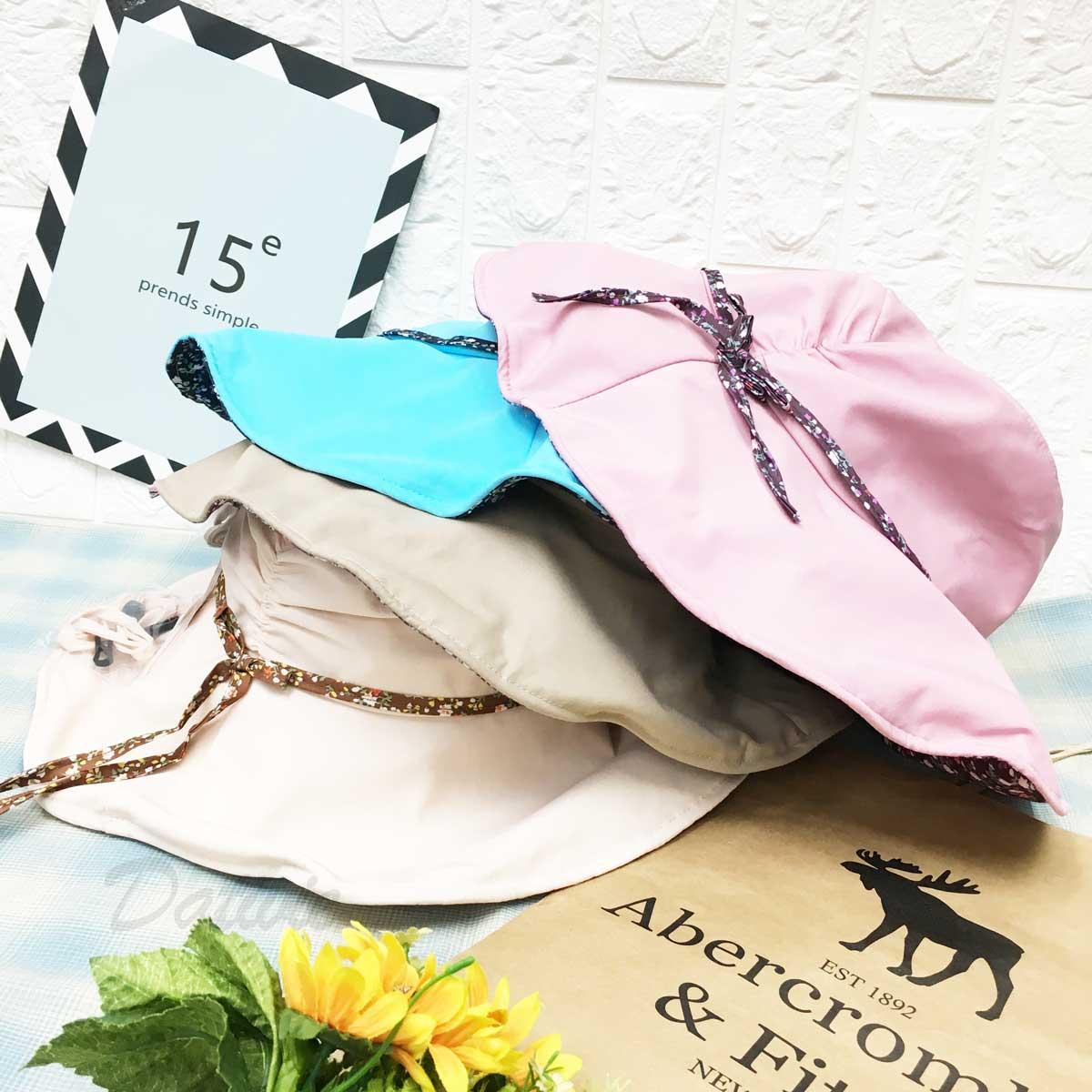 遮陽帽 抓皺 綁帶不可拆 雙蝴蝶結 鐵邊可彎曲造型 內裡滿版小碎花 頭圍可調鬆緊 附拉繩 帽子 淑女帽
