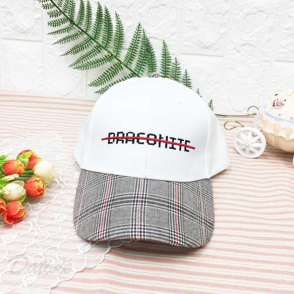棒球帽 刪除英文 刺繡 帽沿千鳥格紋 後可調鬆緊 帽子 鴨舌帽