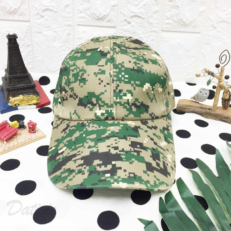 棒球帽 綠馬賽克 混色 後魔鬼氈可調鬆緊 帽子 鴨舌帽