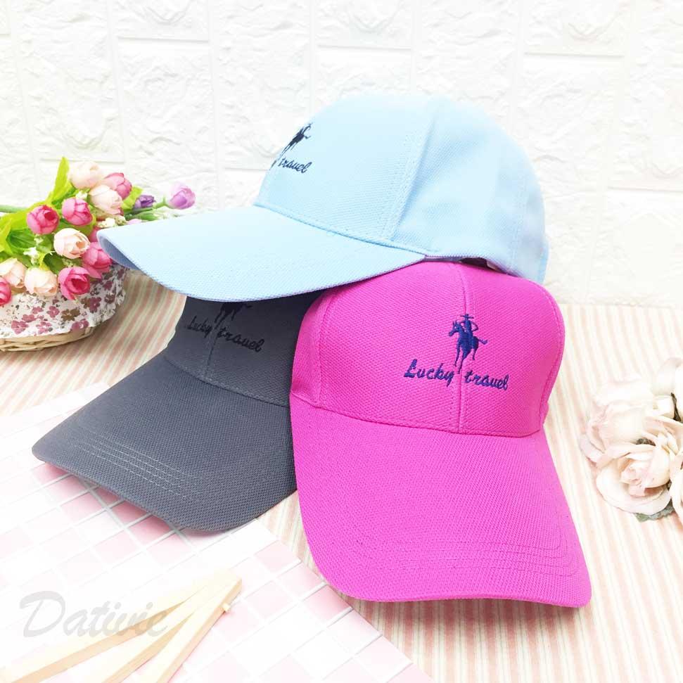 鴨舌帽 牛仔 英文字 刺繡 後可調鬆緊 三色 帽子