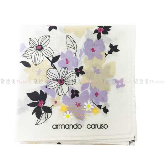 日本製 armando caruso 花朵 紫 小方巾 領巾 優雅 純棉 親膚 日本手帕