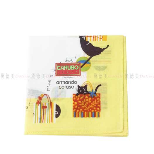 日本製 armando caruso 貓咪 提袋  黃 小方巾 領巾 可愛 純棉 親膚 日本手帕