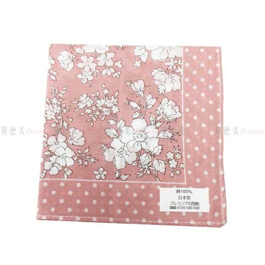 日本製 花朵 點點 粉 小方巾 領巾 優雅 純棉 親膚 日本手帕