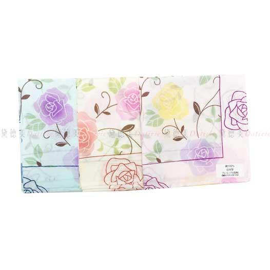 日本製 花朵 葉子 3色 小方巾 領巾 優雅 純棉 親膚 日本手帕