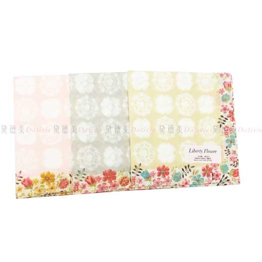 日本製 Liberty Flower 水暈染白花 小碎花 小方巾 領巾 優雅 純棉 親膚 日本手帕