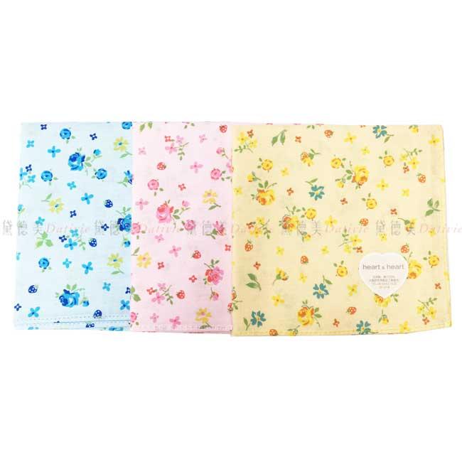 日本製 heart & heart 小碎花 草莓 小方巾 領巾 優雅 純棉 親膚 日本手帕