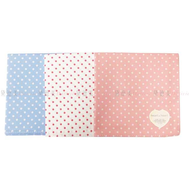 日本製 heart & heart 點點 小方巾 領巾 優雅 純棉 親膚 日本手帕