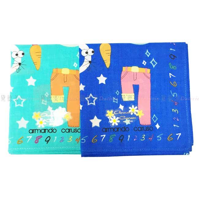 日本製 armando caruso 可愛 數字 小方巾 領巾 優雅 純棉 親膚 日本手帕