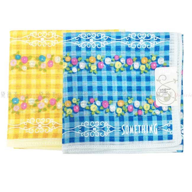 日本製 SOMETHING EDWIN 格紋 小花 花紋 小方巾 領巾 優雅 純棉 親膚 日本手帕