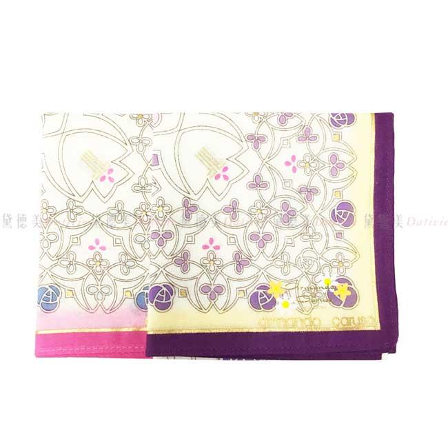 日本製 armando caruso 簍空花紋 花朵 小方巾 領巾 優雅 純棉 親膚 日本手帕