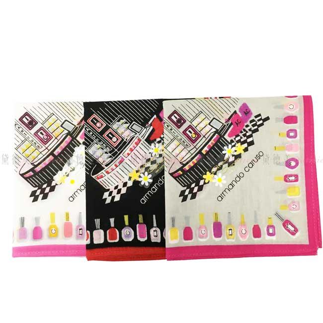 日本製 armando caruso 指甲油 瓶瓶罐罐 小方巾 領巾 優雅 純棉 親膚 日本手帕