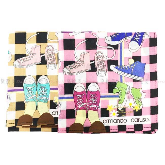 日本製 armando caruso 格子 帆布鞋 小方巾 領巾 優雅 純棉 親膚 日本手帕