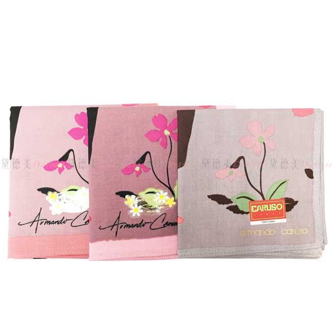 日本製 armando caruso 戴帽的女士 花朵 小方巾 領巾 優雅 純棉 親膚 日本手帕