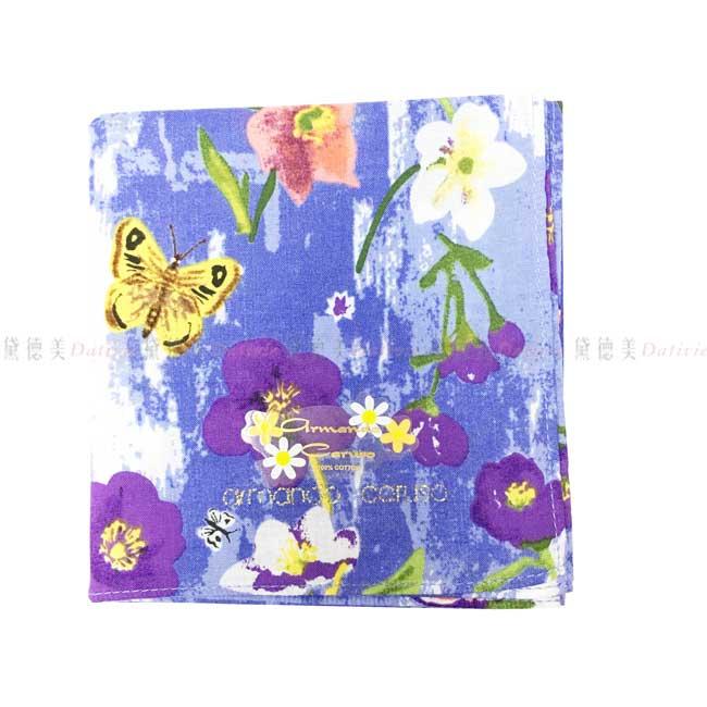日本製 armando caruso 水墨 花朵 蝴蝶 小方巾 領巾 優雅 純棉 親膚 日本手帕