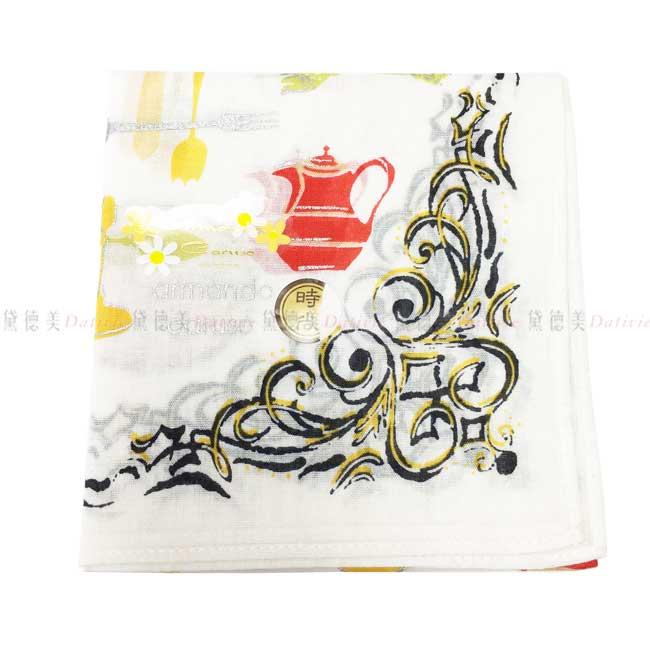 日本製 armando caruso 花紋 茶壺 刀叉 小方巾 領巾 優雅 純棉 親膚 日本手帕