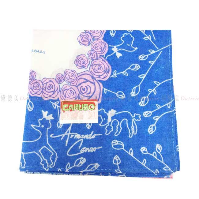 日本製 armando caruso 花紋 狗狗 花朵 小方巾 領巾 優雅 純棉 親膚 日本手帕