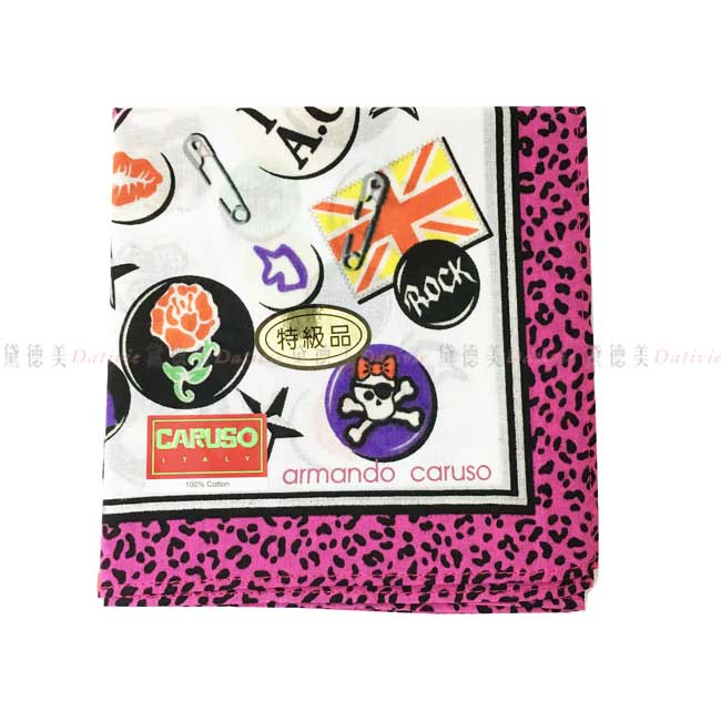 日本製 armando caruso 豹紋 搖滾風格 徽章 小方巾 領巾 優雅 純棉 親膚 日本手帕
