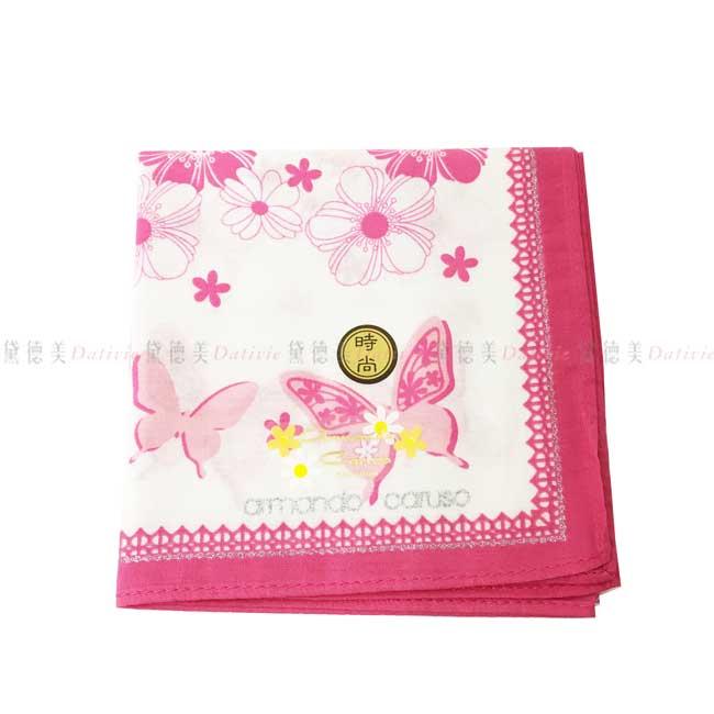 日本製 armando caruso 花朵 蝴蝶 小方巾 領巾 優雅 純棉 親膚 日本手帕
