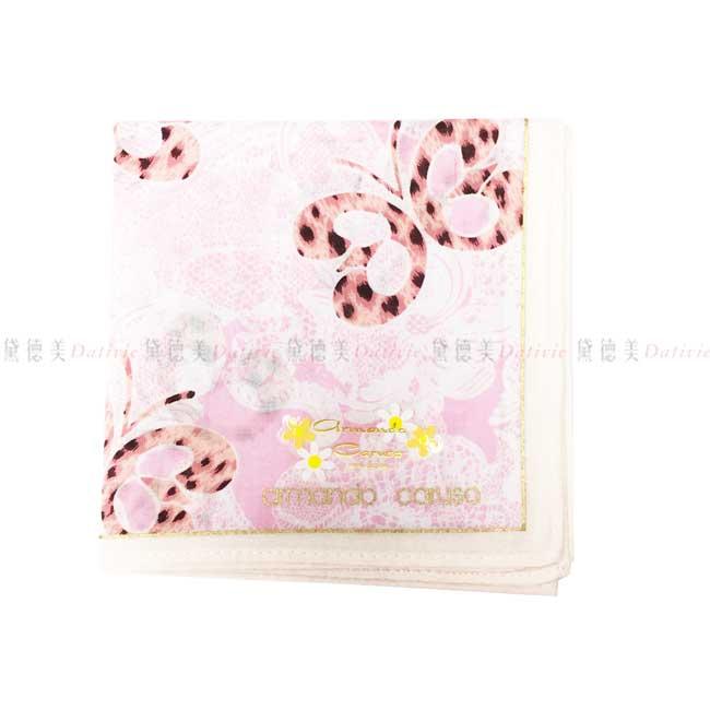 日本製 armando caruso 花紋 豹紋蝴蝶 小方巾 領巾 優雅 純棉 親膚 日本手帕