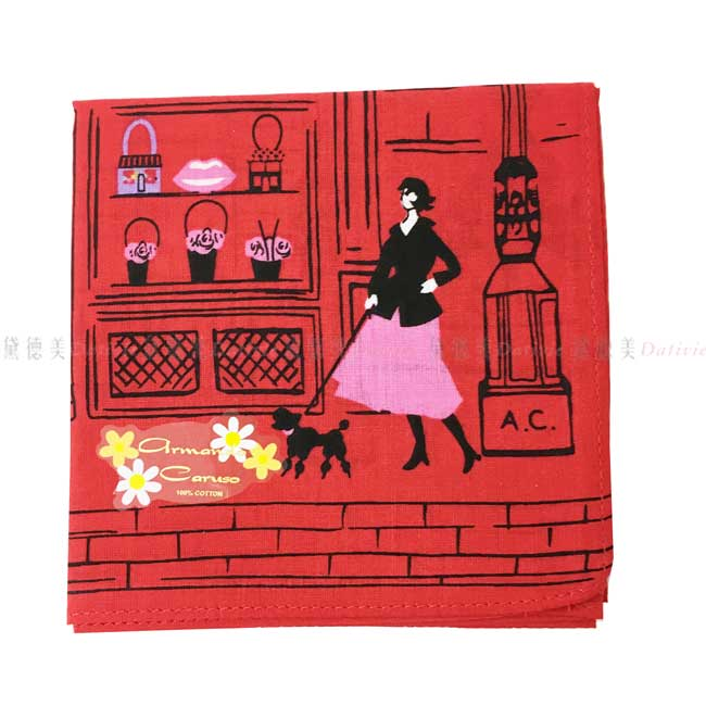 日本製 armando caruso 落葉 貓咪 遛狗 小方巾 領巾 優雅 純棉 親膚 日本手帕