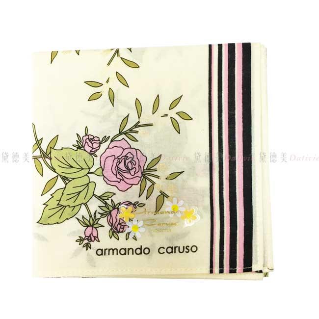 日本製 armando caruso 玫瑰花 鵝黃色 小方巾 領巾 優雅 純棉 親膚 日本手帕