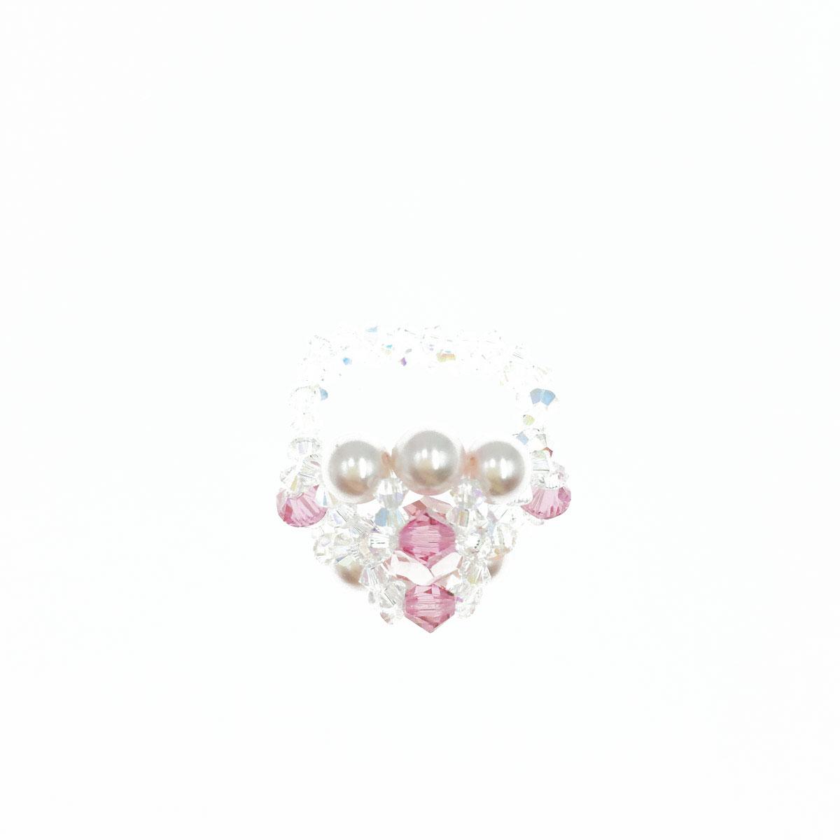 雙排珍珠 水晶 水鑽 粉嫩色 彈性線 戒指 採用施華洛世奇水晶元素 Crystals from Swarovski