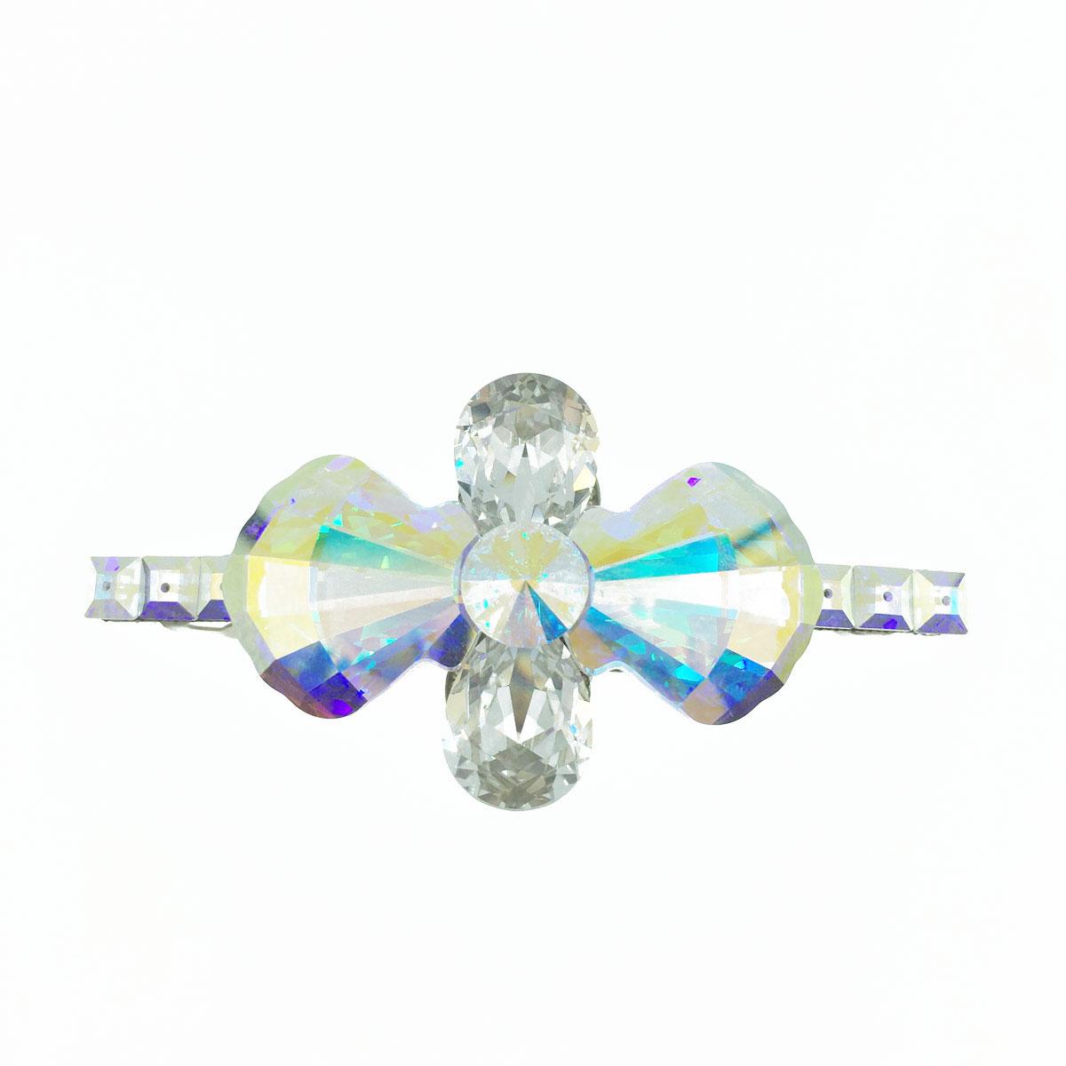 貝殼型 方形邊 水晶 水鑽 彩色 白色 髮飾 髮夾 自動夾 採用施華洛世奇水晶元素 Crystals from Swarovski