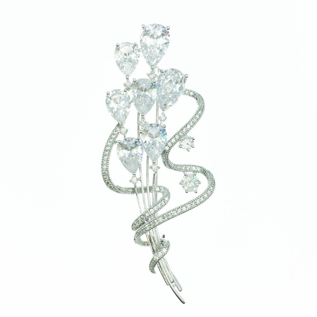 精緻水晶花束 環繞曲線 水鑽 銀色 別針 胸針 採用施華洛世奇水晶元素 Crystals from Swarovski