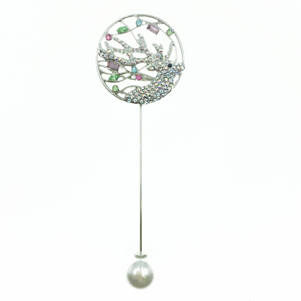 圓圈麋鹿 簍空 水晶 水鑽 珍珠塞 銀色 別針 胸針 採用施華洛世奇水晶元素 Crystals from Swarovski