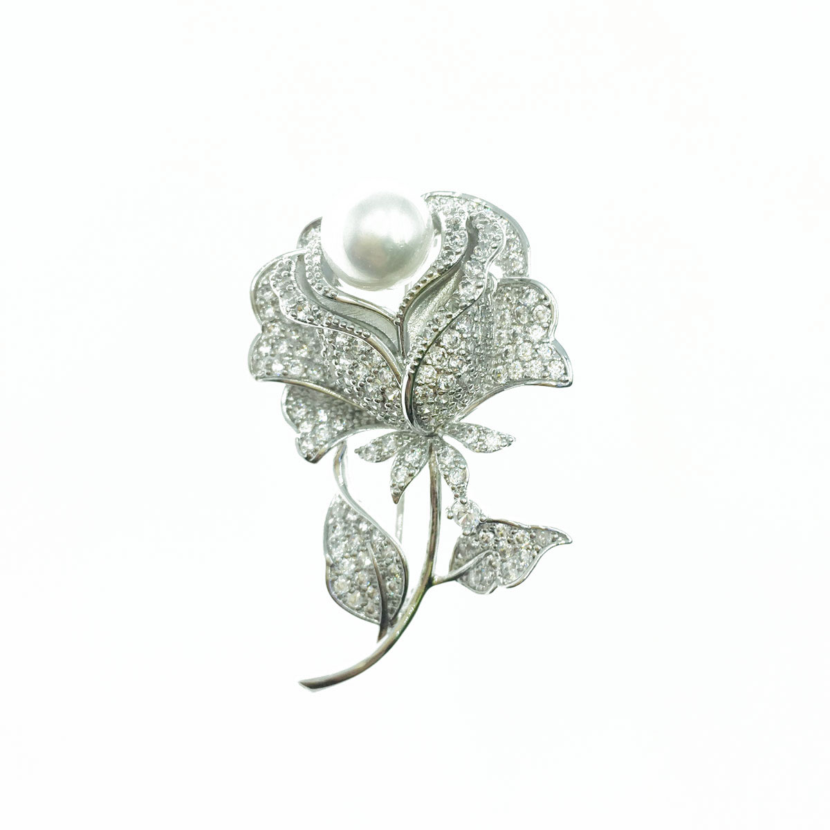 珍珠玫瑰 水鑽 白鑽 銀色 別針 胸針 採用施華洛世奇水晶元素 Crystals from Swarovski