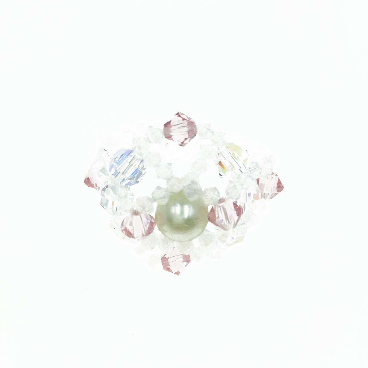 珍珠花朵 粉紅 蛋白色 水晶 甜美風 彈性線 戒指 採用施華洛世奇水晶元素 Crystals from Swarovski